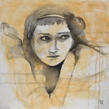 Apeurée - Flash et Encre sur toile - 40 x 40 cm