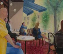 Au café - Huile sur toile - 55x46 cm - 2006