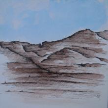 Californie - Encre et Aquarelle sur papier aquarelle - 20 x 20 cm