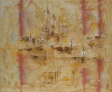 Sable 3 - Huile sur toile, collages et sable - 46x38 cm - 2011