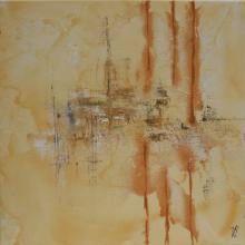 Sable 5 - Huile sur toile, collages et sable - 40x40 cm - 2011