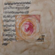 Spirale Musicale Adagio - Flash et Collages sur carton toilé - 25 x 25 cm