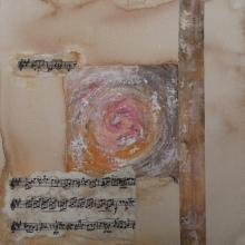 Spirale Musicale Crescendo - Flash et Collages sur carton toilé - 25 x 25 cm