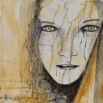 Ecorchée - Flash et Encre sur toile - 40 x 40 cm