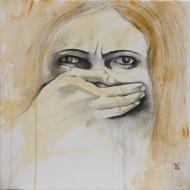 Tais-toi ! - Flash et Encre sur toile - 40 x 40 cm